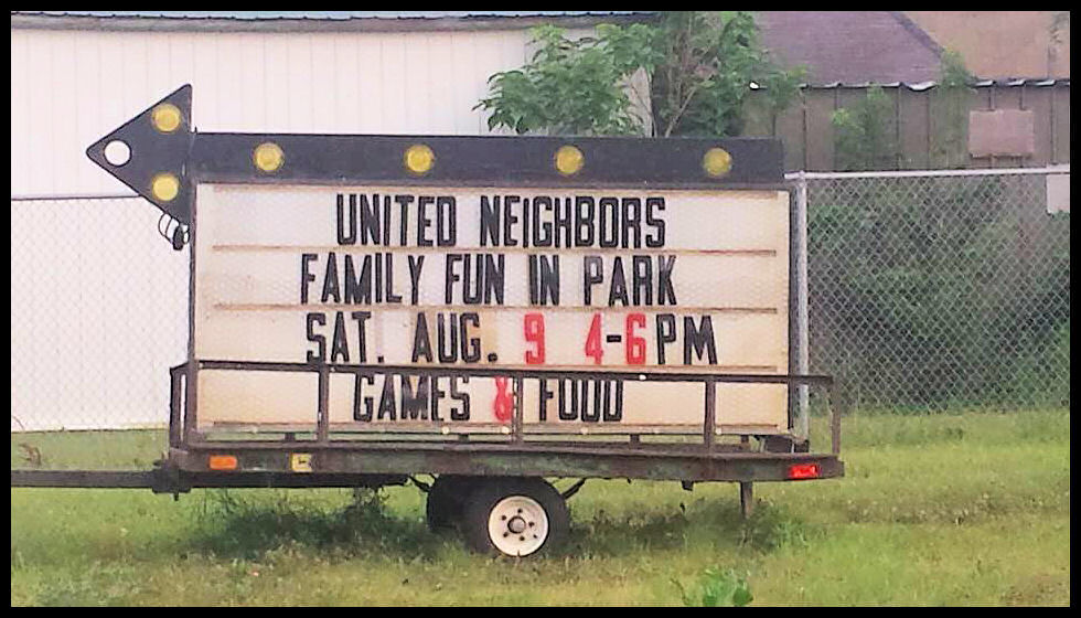 Hazleton United Neighbors - Fun in the Park Sign